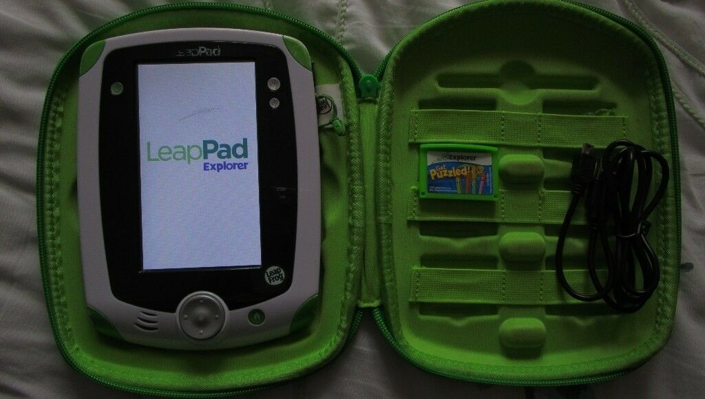 Green Leapfrog Leappad with stylus, USB computer lead , case, & 1 Leapster Explorer game