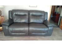 3 seat soft leather reclining sofa