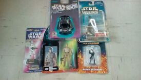 STAR WARS CHRISTMAS GIFTS ACTION FIGURES X 4 AND VOICE RECORDER AND PLAY BACK DARTH VADER HEAD NEW