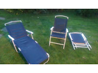 Garden chairs and sun lounger