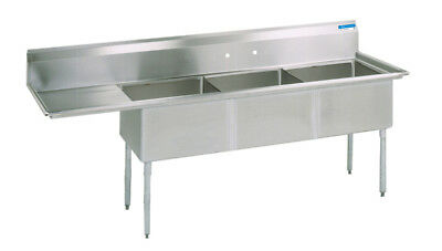 Bk Resources Bks-3-18-12-18l Commercial Stainless Steel 3-compartment Sink Ldb