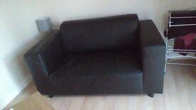 2 seater setee black leather sofa