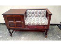 Retro oak telephone seat