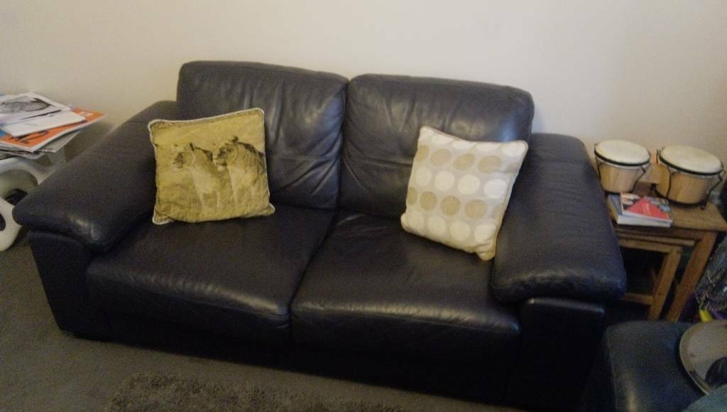 Navy Blue Leather Sofa In Aberdeen