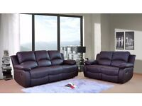 Leather Recliner VALENCIA Sofas Suites 3+2 with 1 Year Warranty and FREE DELIVERY in 2 colours BLACK