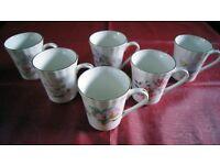 Queensway Vintage Fine Bone China Coffee Mugs - set of 6 floral design