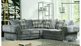 SALE END SOON-VERONA CHESTERFIELD GREY PLUSH FABRIC CORNER SOFA SUITE OR 3+2 SETTEE