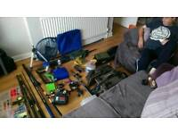 Fishing Tackle Job Lot - Rods, Bags, Poles, Whips, Reels, Cases, Nets & More