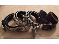 5 used men's belts. River Island, Lowlife and Fat Face brands. All size medium (32 inch waist)