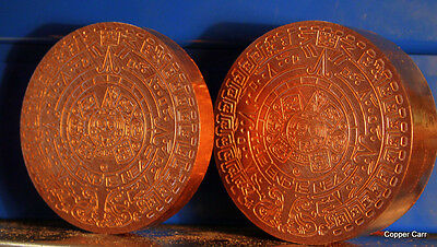 A MAYAN AZTEC CALENDAR WEIGHING 1 POUND OF .999 Fine Copper Bullion