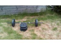 Barbell and weights, 35kg