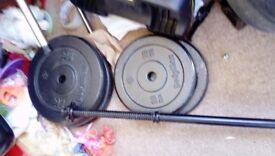 Weights set 56 kg barbell 5 ft