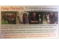Pony pursuits - horse riding - woodland treks - ride & groom sessions - event hire - party's
