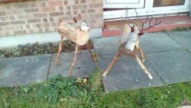 Wooden log reindeer