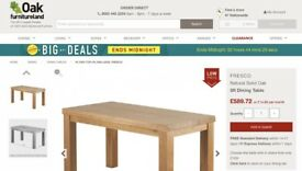 Oak Furniture Land Contemporary Chunky Solid Oak Dining Table & two chairs & bench