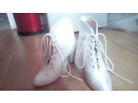 White satin wedding boots size 7