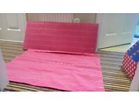 Pink roman blind/matching pelmet/ double sofa bed cover and 2 matching cushion covers