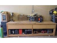 Large woodworking bench/table with drawers and storage