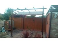 Gazebo brown metal with sliding overhead beige canvas vCard anopt