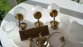 BRASS WALL LIGHTS (3) WITH GLASS SHADES