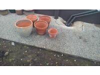 10 ceramic flower pots and 5 terracotta flower pots various sizes