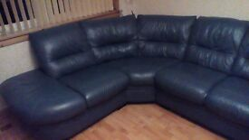 Blue leather corner sofa