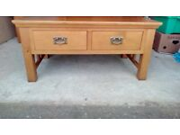 Solid oak coffee table, tv cabinet and hall table
