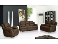 VALENCIA LEATHER RECLINER SOFA in 3 2 and 1seaters AVAILABLE IN BROWN