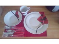 Brand new Red poppy dinner set