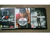 PC Games f1, tomb raider, tiger woods golf