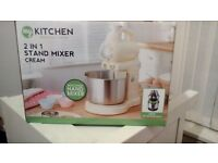 Food mixer, new & boxed, cream and chrome.