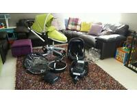 Silver cross pram with all accessories, maxi cosi car seat and isofix base