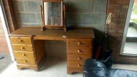 Solid pine dressing table and mirror DUCAL