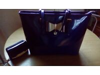Lovely blue patent bag & purse