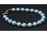 Aqua Glass Pearl Bracelet with Gold Spacer Beads Handcrafted