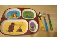 The Gruffalo Melamine Divided Plate & Matching Cutlery Set for Toddler/Kids, Excellent Condition