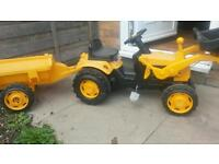 JCB ride on tractor and trailor
