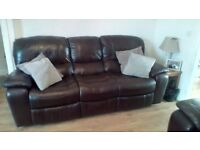 2 seater and 3 seater brown leather recliners excellent condition