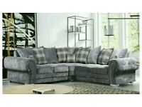 Furniture Defines You-VERONA GREY PLUSH FABRIC CORNER SOFA SUITE OR 3+2 SETTEE ON SALE