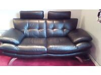 Black leather sofas x 2, excellent condition