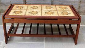 Coffee table, teak and tile, floating top, vintage 1970s.