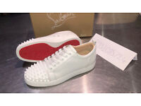 CHRISTIAN LOUBOUTIN WHITE LOW RED BOTTOMS BLACK SPIKES SIZE UK 7 8 9 10 BRAND NEW