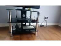TV stand in black glass with chrome legs