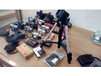 Joblot vintage cameras and sony tripod