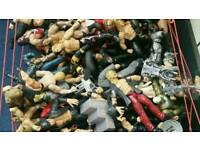 Large collection of retro wrestlers plus wrestling ring