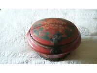 Beautiful and unusual red decorated Chinese round wooden box