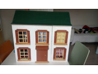 Dolls House Wooden, with attic, dolls, furniture. Width: 60cm, Depth:24cm, Height:62cm
