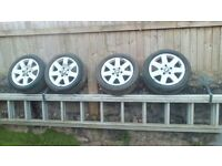 BMW aluminium wheels and tyres, the rims have sum scraping and the tyres are almost new