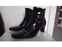 CLARKS Black Leather Patent Boots size 5