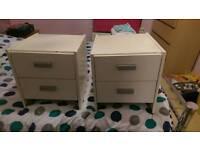 2 sets of bedside drawers